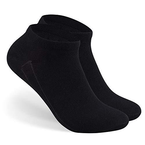 Bärenfuß Damen & Herren Sneaker Socken Kurz - 10 Paar Sneakersocken aus Baumwolle in Weiß & Schwarz - Freizeit, Sport | 35-38, 39-42, 43-46 (43-46, 10x Schwarz)
