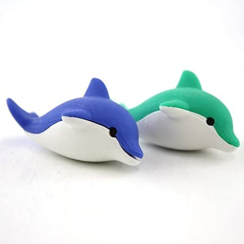 Iwako Japanese Erasers - 2 Colours Dolphin (2 pieces)