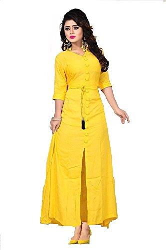 Women's Cotton Crepe Printed Party Wear Kurti (Yellow-1182)