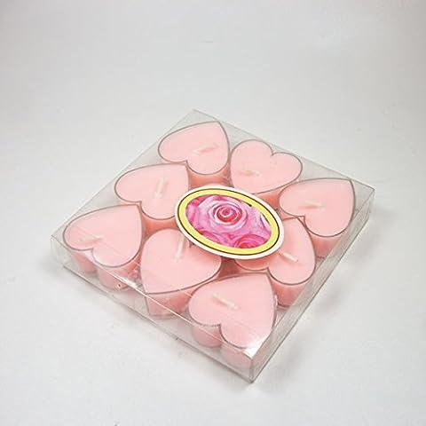beibeilove a forma di cuore senza fumo candele, 9pezzi romantico amore candela Bulk per matrimoni, compleanni, feste, Halloween, Natale, Festival