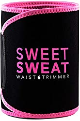 Sweet Sweat Taille Trimmer (Rosa Logo) für Damen & Herren. Inklusive gratis Probe des Sweet Sweat Workout Erweiterer. Pink.