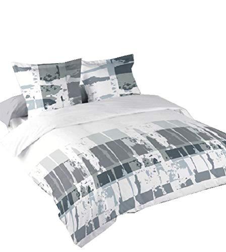 Buckingham Single (Lancashire Textiles Buckingham Single, leicht zu bügeln Blended Baumwolle Bettwäsche-Set in weiß/grau)