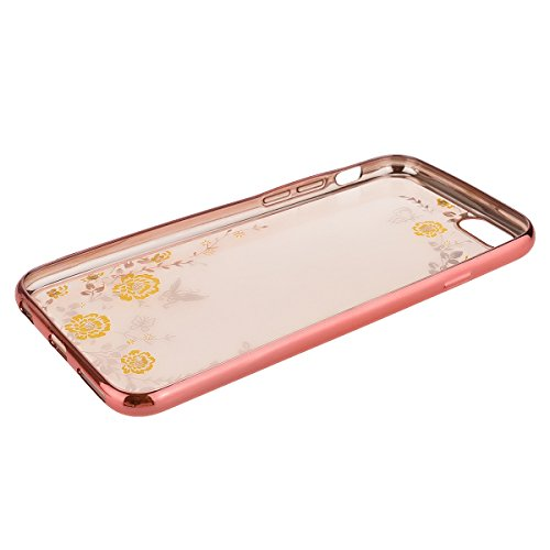 Coque Housse Etui pour Apple iPhone 6 Plus / iPhone 6S Plus (5.5 pouces), HB-Int Gold Bumper Coque en Silicone avec Bling Diamant Housse Papillon Fleur Blanche Motif Soft Gel Silicone Case Cover Prote Jaune Fleur 1