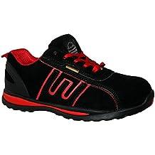 Zapatillas de seguridad para hombre GR86, de piel, con punta de acero y cordones