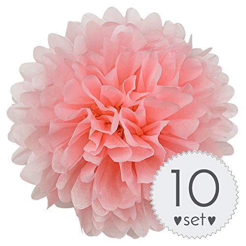 ell-Rosa - Pom Pom Deko zur Hochzeit oder Party - 10er Set handgefertigte Seidenpapier Pompons (Hell-Rosa, 20 cm) ()
