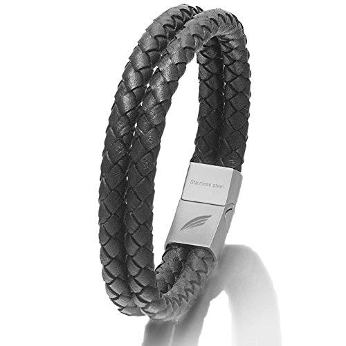 Premium Lederarband für Herren (Schwarz Silber, 22)