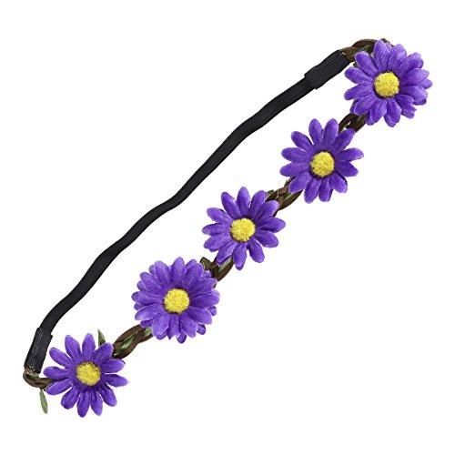 BESTOYARD Hawaiian Sunflower Crown Haarband Luau Party Leis Garland Kränze Tropischen Strand Thema Party Gefälligkeiten (Lila)