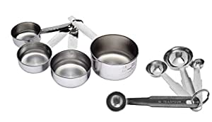 Dynore Stainless Steel Measuring Cup Set, 8-Pieces, Silver (DS_45)
