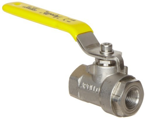 Apollo 76F-100-A Series Stainless Steel Ball Valve, Two Piece, Inline, Lever, 1/4 NPT Female by Apollo Valve -