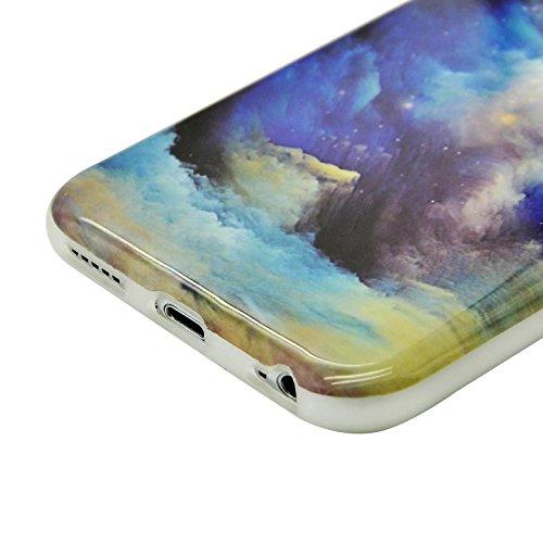 Sunroyal Coque iPhone 8 Plus Coque Housse Case Bumper Étui Coque de Protection en TPU Silicone Ultra Slim Mince Léger Antichoc Housse Case Coque Dessin Marbre Souple Motif Marbre Grain Soft Case Arriè Motif 12