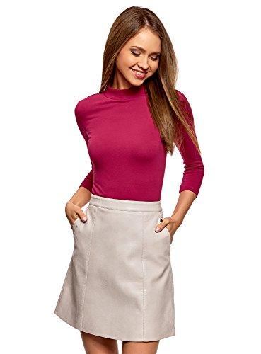 oodji Ultra Damen Baumwoll-Pullover mit 3/4-Arm, Rot, DE 38 / EU 40 / M