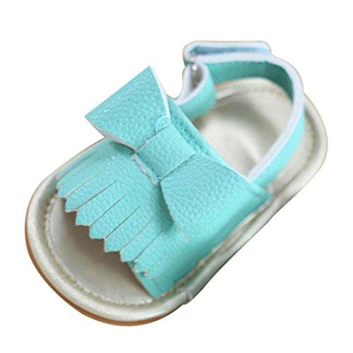 Igemy 1 Paar Baby Mädchen Quaste Bowknot Sandalen Schuhe Sneaker Anti-Rutsch Soft Sole Kleinkind Blau