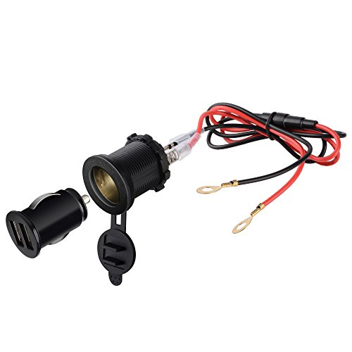 TurnRaise Alta Calidad 2 USB 12V Impermeable Motocicleta Adaptador Cargador Cable de...