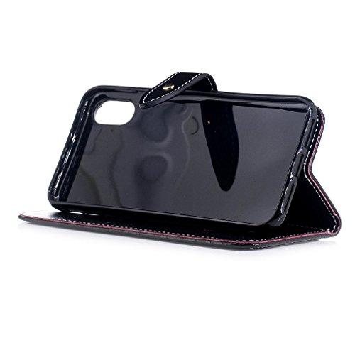 Apple iPhone X Custodia, SATURCASE Stile di Coccodrillo Premium Pelle Sintetica Flip Magnetico Portafoglio Supporto [Slot per Schede] Protettivo Caso Case Custodia Cover per Apple iPhone X (Nero) Nero