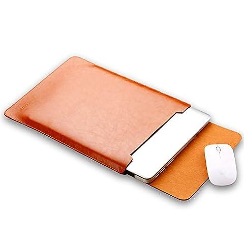 Weiche Sleeve Case Hülle PU Leder Tasche für MacBook 12 Wasserdicht mit Schutz Tasche Hellbraun