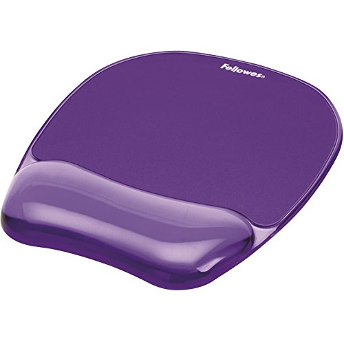 Fellowes Tappetino Mouse con Poggiapolsi Crystal Gel, Viola