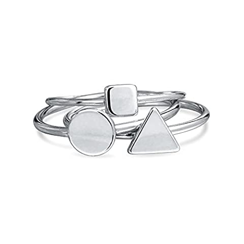 Bling Jewelry 925 Sterling Silver Midi Ring Modern Shapes Stackable Rings Set