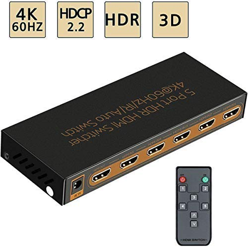 Awakelion 4K@60Hz HDMI Switch -Umschalter 5x1 Premium Quality 5-in-1-Out-HDMI-Umschalter mit IR-Fernbedienung, HDCP 2.2, UHD, HDR, Full HD / 3D