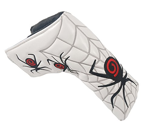 mamimamih Housse de tête lame de putter golf couvre-fer (Blanc) Spider Web Design pour s'adapter à toutes les marques Scotty Cameron Ping TaylorMade Odyssey Callaway Titleist
