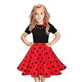 Tyoby Baby Mädchen Kurzarm Wellenpunkt Kleid Retro-Party Abendkleid Elegant Taufbekleidung(rot,L)