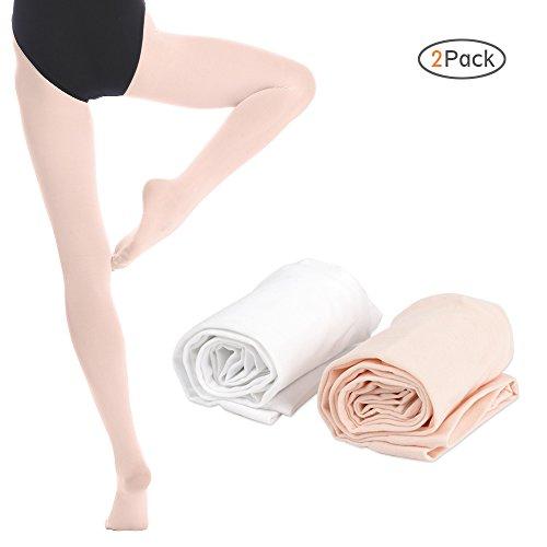 Bezioner 2 Paar Kinder Ballett Strumpfhose Tanzstrumpfhose mit Fuss fur Kinder und Damen,Weiss 1 Paar Apricot 1 Paar,S