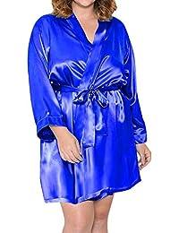VJGOAL Moda para Mujer Seda Sedosa y Suave Atractiva Bata Babydoll de Color sólido Camisón Camisón