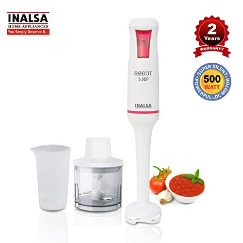 Inalsa Hand Blender Robot 5.0 CP 500-Watt Heavy Duty | 2 in 1 Hand Blender/Chopper | 2 Year Warranty| Low Noise DC Motor| 700 ml Multipurpose Break Resistant Measuring Cup