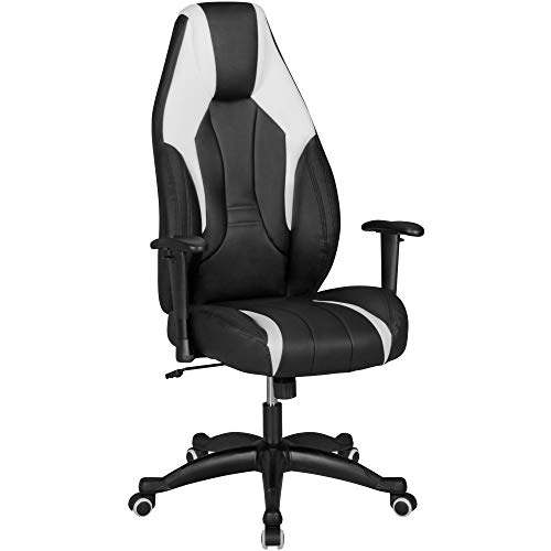 FineBuy Chaise de Bureau Racing Chaise Design Ordinateur Gamer Course siège Sport |avec Repose-tête Fauteuil de Direction Gamer | Cuir synthétique - Noir/Blanc - Chaise de Jeu 120 kg