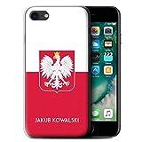 eSwish Personnalisé Drapeau National Nation Personnalisé Coque Gel/TPU pour Apple iPhone 7 / Pologne/Polonais Design/Initiales/Nom/Texte Etui/Housse/Case
