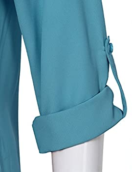 Youtalia Ladies Chiffon Blouses, Womens Casual Chiffon V Neck Cuffed Sleeve Loose Shirt Blouse Tops(dark Cyan,large) 3