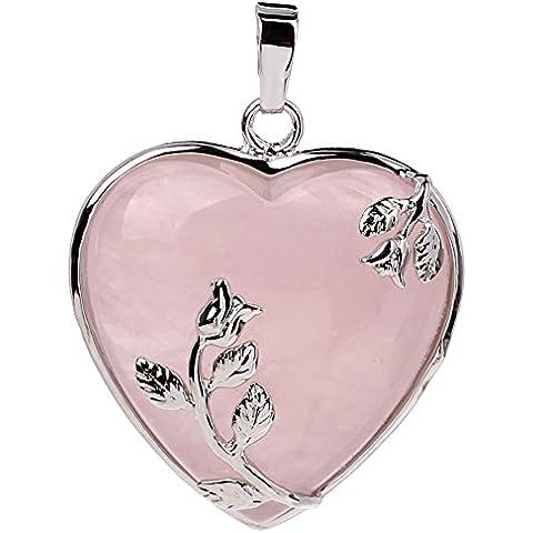 Natural Vogue Tumbled Chakra, in lega, a forma di cuore con pendente - Quarzo Rosa Cuore