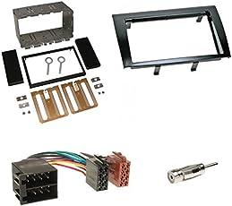 Einbauset : Autoradio Doppel-DIN 2-DIN Radioblende Radio Blende Halterung schwarz + ISO Radioanschlusskabel / Radio Adapter + Antennenadapter für Fiat Bravo (198) ab 04/2007