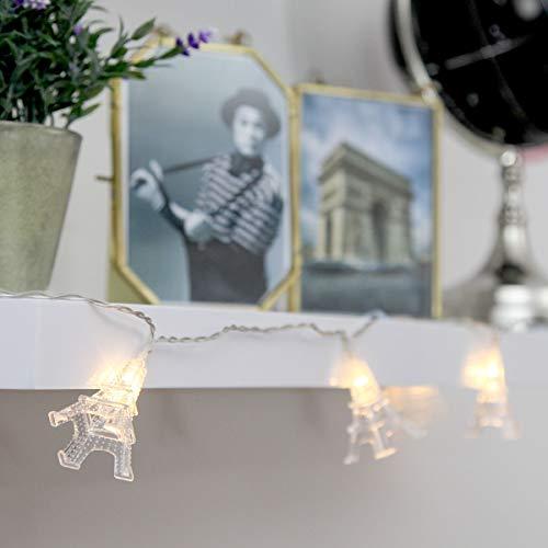 romantische Lichterkette, Eiffelturm-Design, batteriebetrieben, 1,9m, 10 transparente Mini-Eiffeltürmchen mit LEDs in warmweiß auf transparentem Kabel, von Festive Lights (1 Lichterkette)