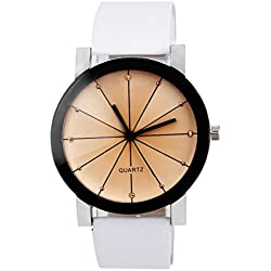 OverDose Men Convex Quartz Dial Clock Leather Wrist Watch