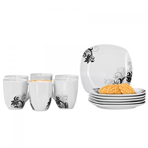 Van Well 12tlg. Frühstücks-Set Black Flower für 6 Personen | Kaffeebecher + kleine Teller | modernes Dekor | abstrakt | edles Hotel-Porzellan Frühstück Becher-set