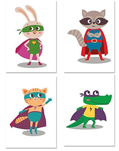 PICSonPAPER Kinder Poster 4er-Set SUPERHELDEN, ungerahmt DIN A4, Dekoration fürs Kinderzimmer, Kinderposter, Geschenk, Kunstdruck (Ungerahmt DIN A4)
