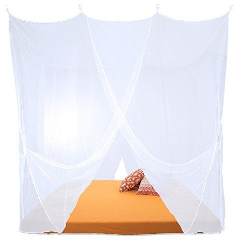 CelinaSun Sumkito Moskitonetz XXL Doppelbett weiß Mückennetz eckig Bettvorhang 2 Eingänge Insektenschutz