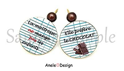 Boucles d'oreille Cadeau pour la maîtresse - La maîtresse ne mange pas les enfants... Elle préfère le CHOCOLAT école