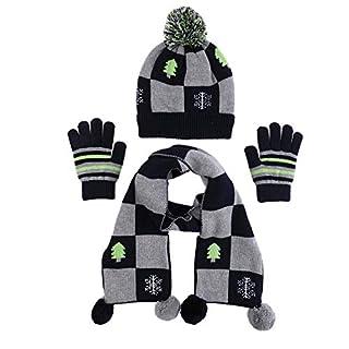 100% Cotton Hat Scarf Mitten Set Baby Fashion Checkered Pom Scarves Toddler Snow Beanie Cap Boy Winter Gloves (S)