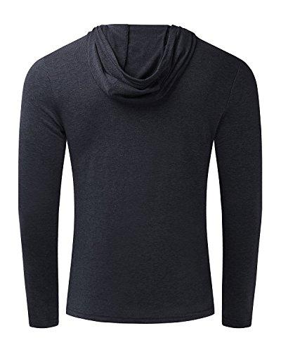 MODCHOK Herren Shirt Langarmshirt Hoodie Sweatshirt Kapuzenpullover Einfarbig Longsleeve Dunkelgrau