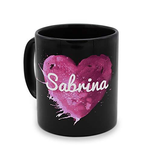 printplanet - Tasse Schwarz mit Namen Sabrina - Motiv: Painted Heart - Namenstasse, Kaffeebecher, Mug, Becher, Kaffeetasse