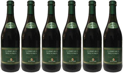Lambrusco rosso dolce Gualtieri Dell`Emilia IGT mit Schraubverschluss (6 X 0,75 L) - Vino Frizzante - Roter Süßer Perlwein 7,5{cb77b920c21d4d311f3f7d2c313eeac667cce991eb175973f46fc8ee0b35201d} Vol. aus Italien