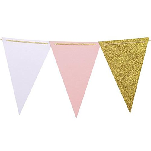 le Flag Bunting Banner - Upgrade Version, Vintage Style Wimpel Banner für Hochzeit, Baby Dusche, Event & Party Supplies, 15pcs Flaggen (Pink + Weiß + Champagner Gold Glitter) (Bunting Flags)