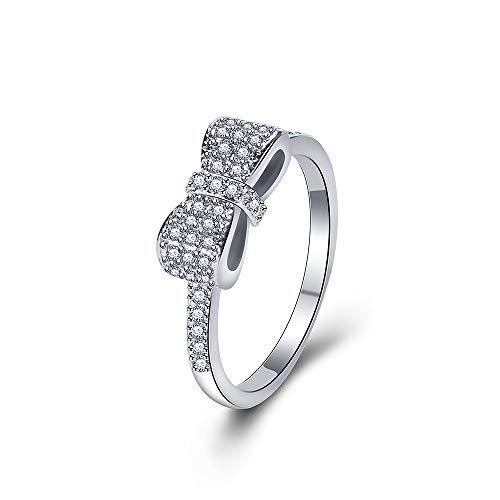 Yazilind Silber überzogene Ringe öffnen Klassische Persönlichkeit Bogenform Hochzeit Versprechen Ewigkeit Party Ring (18,1) (Silber Ewigkeit Ring Granat)