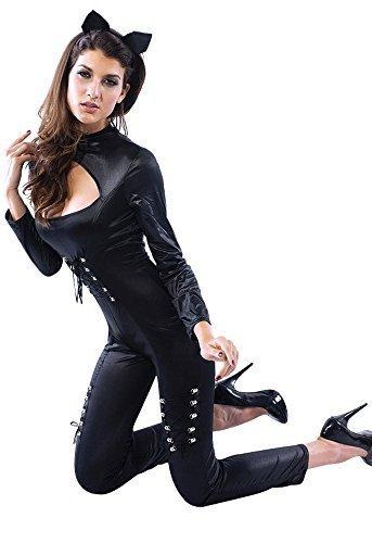 Reizvoller Qualität Faux Leder Stoff 2 Stück Katz Catwoman Catsuit Größe (Leder Catwoman Kostüme)