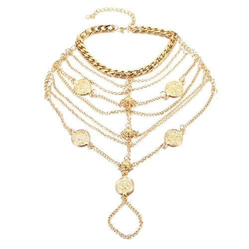 AmDxD Schmuck Fusskette Indisch Kette Quaste Münze Damen Vergoldet Fußkettchen Gold Länge 23.1CM