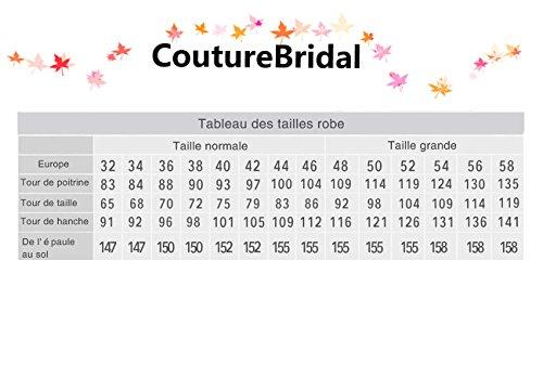 CoutureBridal® Robe Maxi de Soirée Robe Sexy en Chiffon Perlé Dos Nu Rouge Vineux