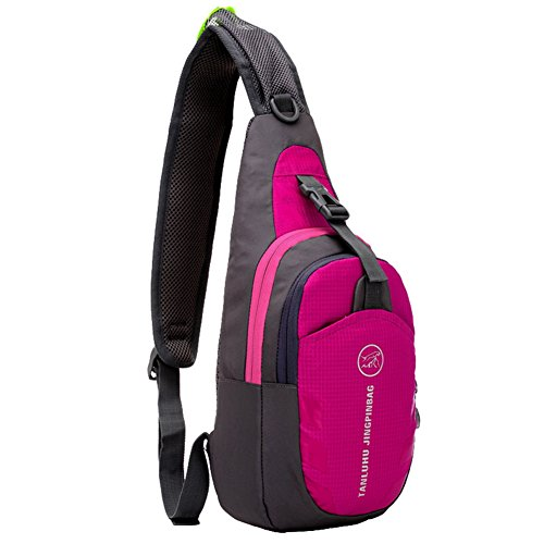 GADIEMENSS Lightweigh Breathable Multi Purpose Waterproof Chest Bag Sling Shoulder Backpack Rose Red