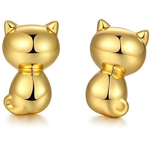 Katze Ohrringe,Sterling Silber Katze Ohrstecker,Damen Mode Katze Ohrstecker Ohrringe,Schön Katze Ohrstecker,Niedlich Klein Katze Ohrringe,Silber Katze Ohrringe,925 Sterling Silber Ohrringe,Gold (Silber-katze-kragen)