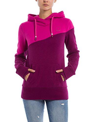 Bench Damen Kapuzenpullover Her. Hoody Color Block, Rosa (Plum Caspia Pu11461), Large (Herstellergröße: L) (Sweatshirt Hoody Block)